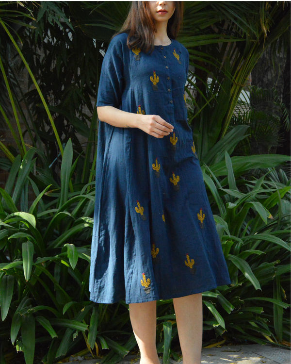 Indigo cactus applique dress 2