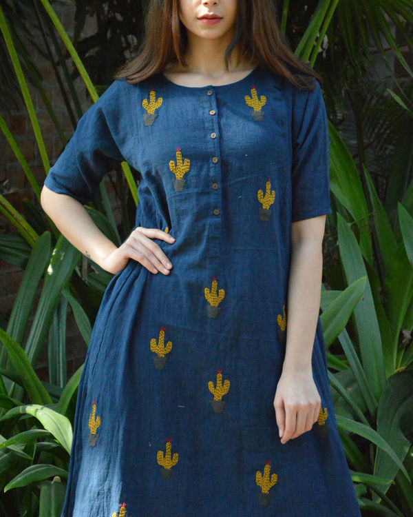 Indigo cactus applique dress 1