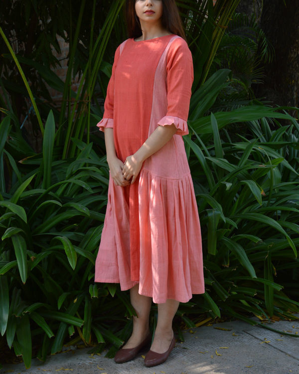 Peach pink pleated panel tunic 2