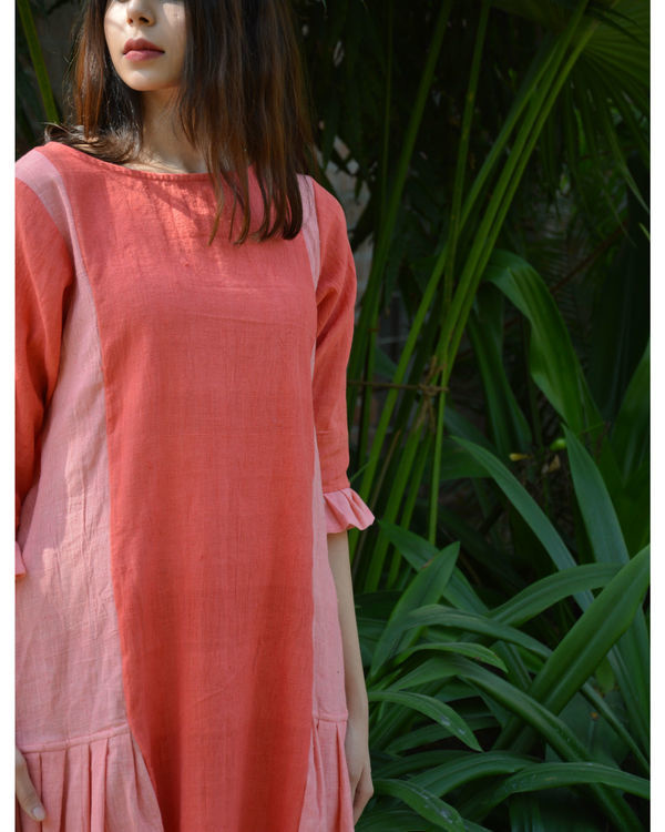 Peach pink pleated panel tunic 1