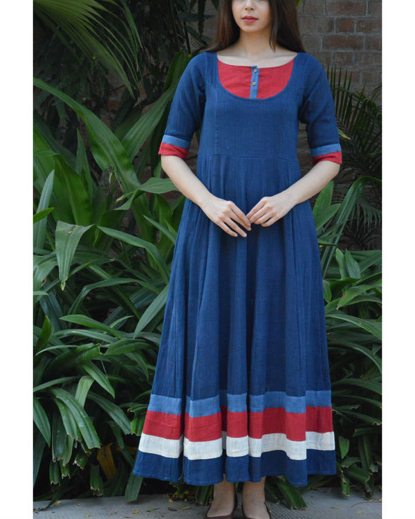 Indigo flared maxi with red yoke and borders 2