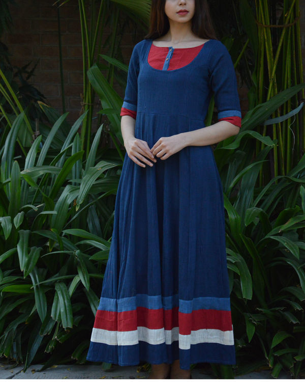 Indigo flared maxi with red yoke and borders 1