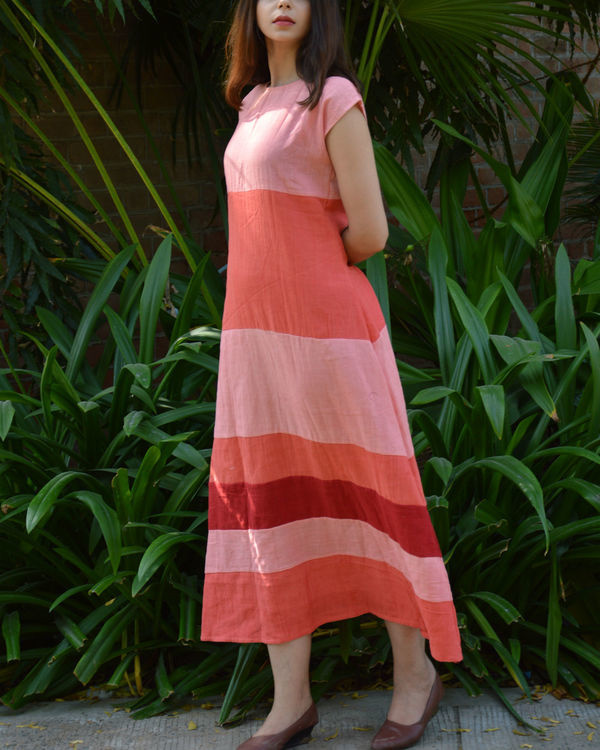 Peach pink color block drop shoulder maxi dress 3