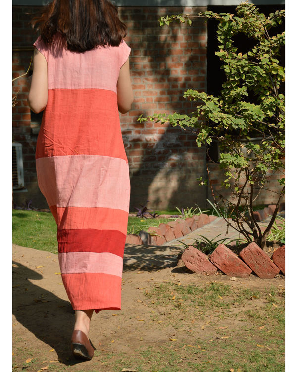 Peach pink color block drop shoulder maxi dress 2