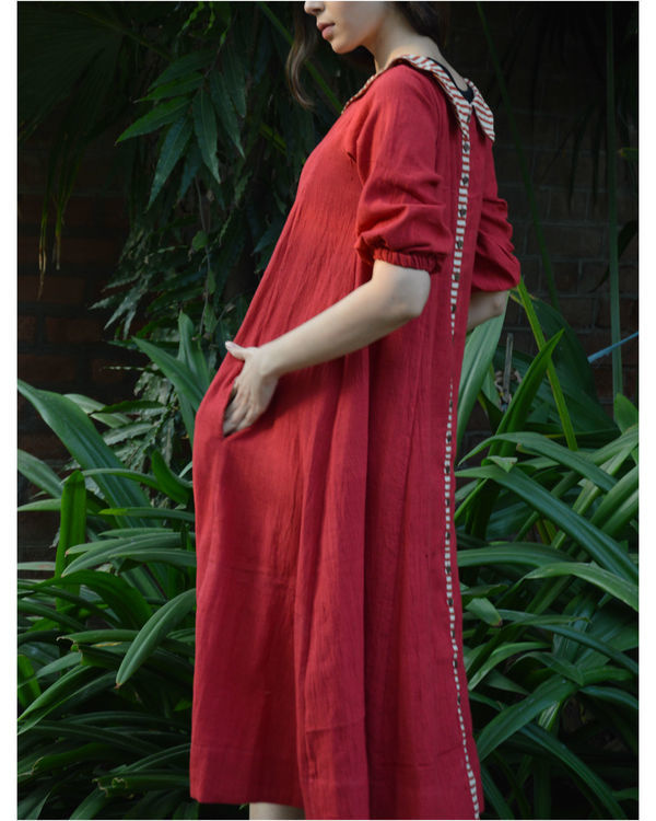 Red back placket tunic with in seam pockets 1