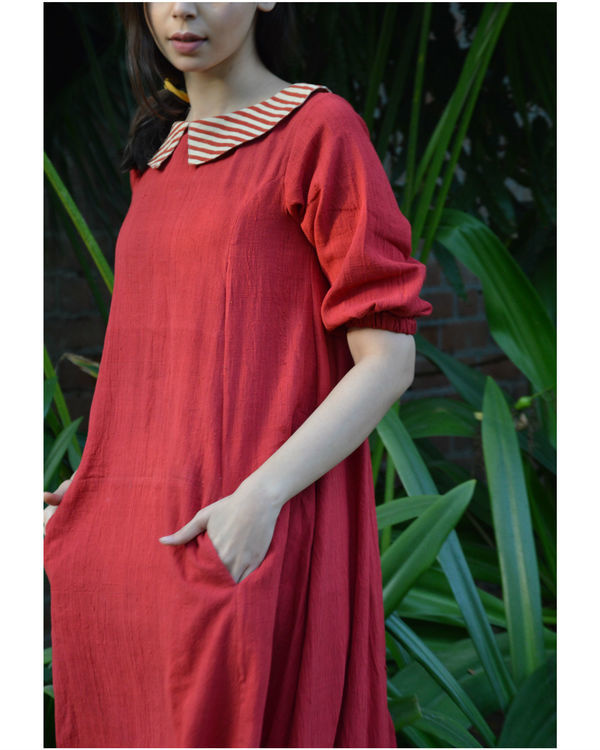 Red back placket tunic with in seam pockets 2
