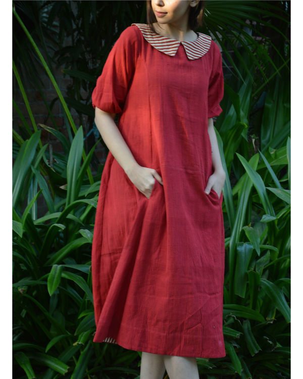 Red back placket tunic with in seam pockets 3