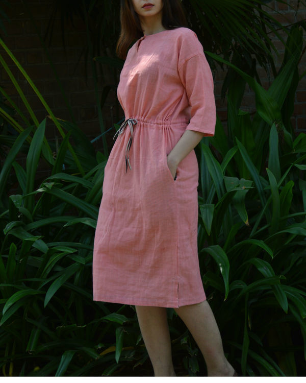 Pink anti-fit tunic with drawstring waist 1