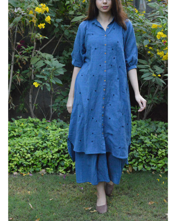 Indigo front button polka tunic with indigo palazzo 2