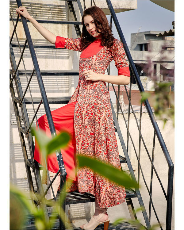 Printed double layered dress 2