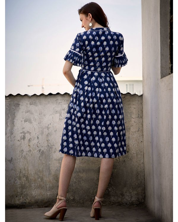 Blue mogra box pleated dress 2