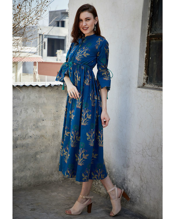 Blue foil printed gathered dress 2