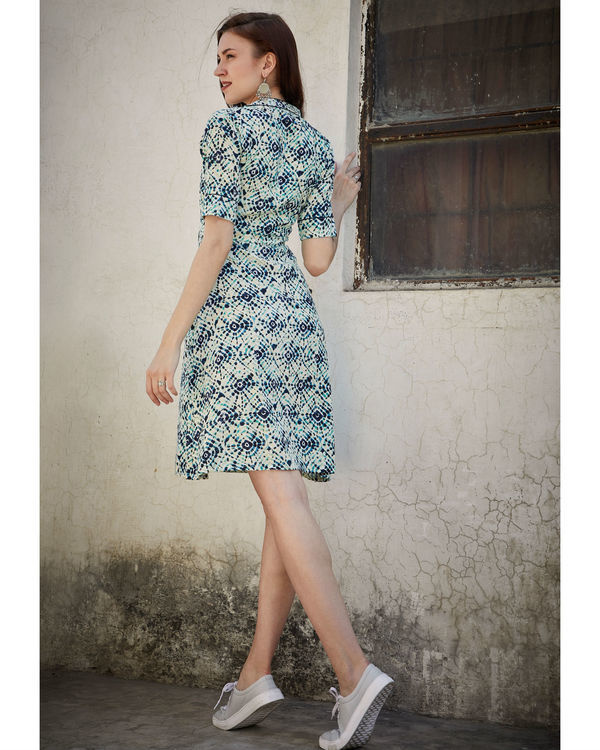 Printed blue side pocket dress 3