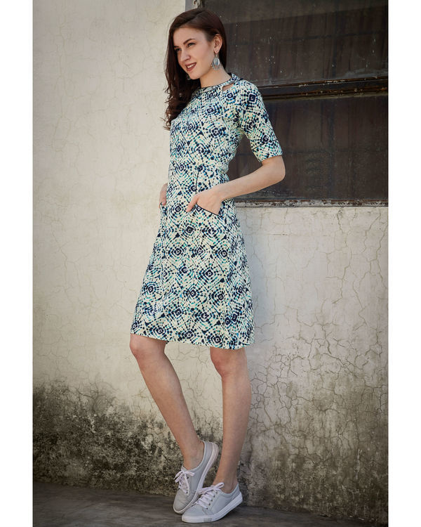 Printed blue side pocket dress 2