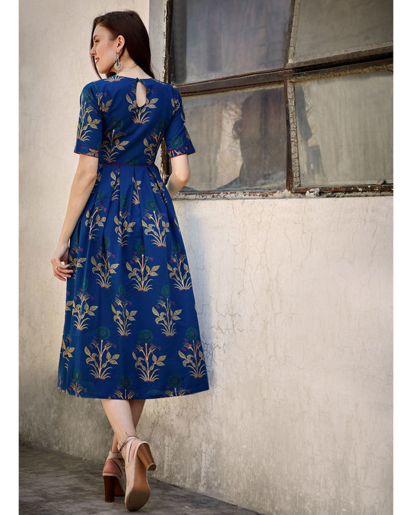 Blue printed flared dress 2
