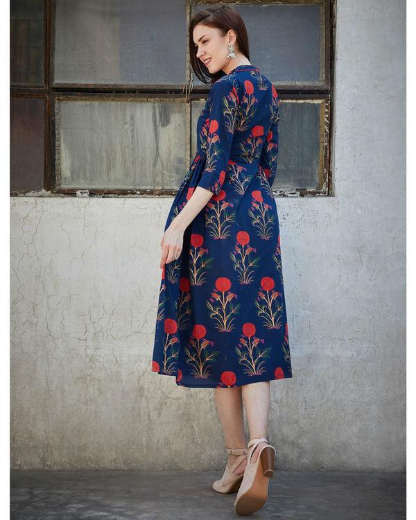 Navy blue side pleated dress 2