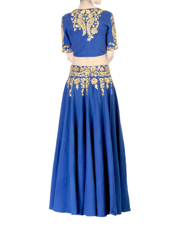 Blue embroidered  ball gown skirt with golden embroidery 1
