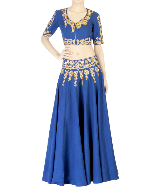 Blue embroidered  ball gown skirt with golden embroidery 2