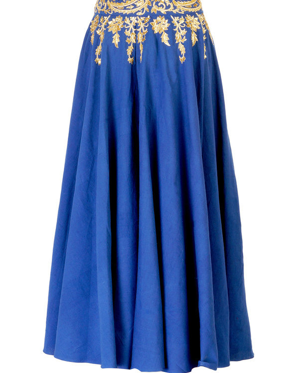Blue embroidered  ball gown skirt with golden embroidery 3