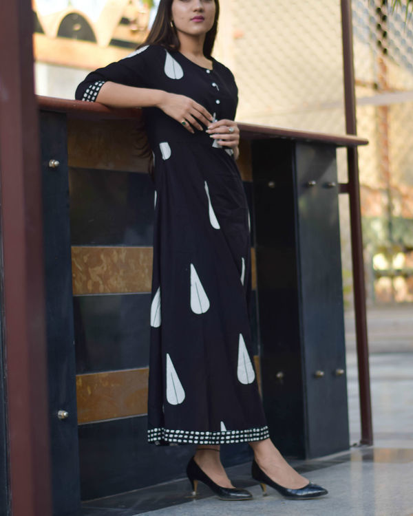 Black block printed long dress 1