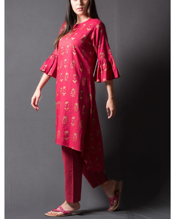 Maroon block printed asymmetrical kurta set 3