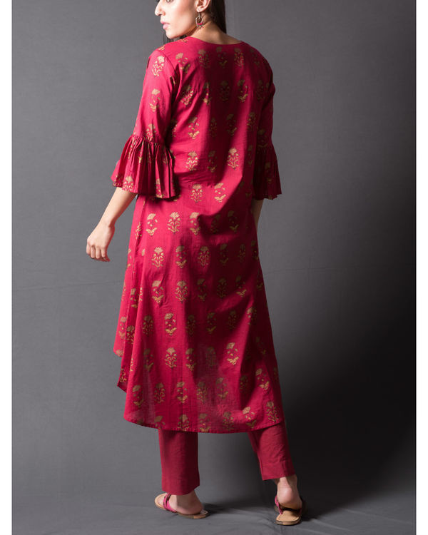 Maroon block printed asymmetrical kurta set 2