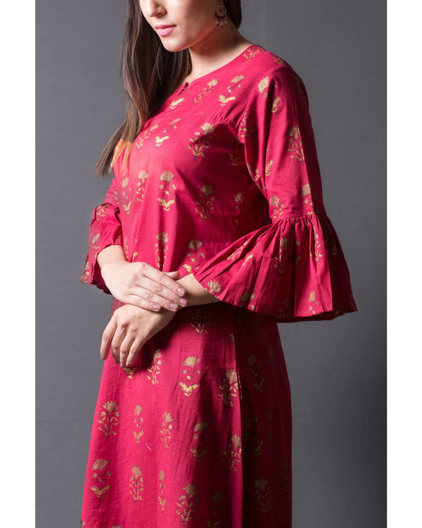 Maroon block printed asymmetrical kurta set 1