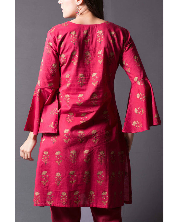 Maroon daisy block printed short kurta set 1