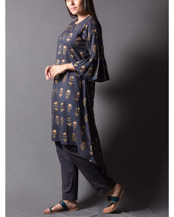 Grey block printed asymmetrical kurta set 2
