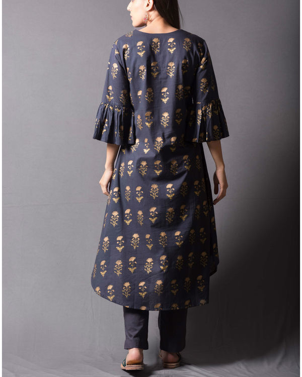 Grey block printed asymmetrical kurta set 1