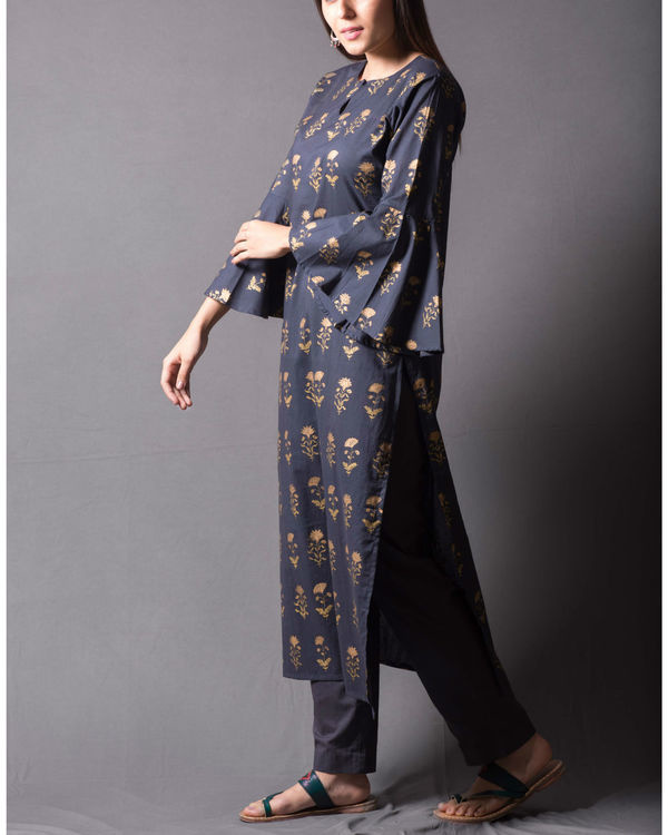 Grey block printed kurta set 2