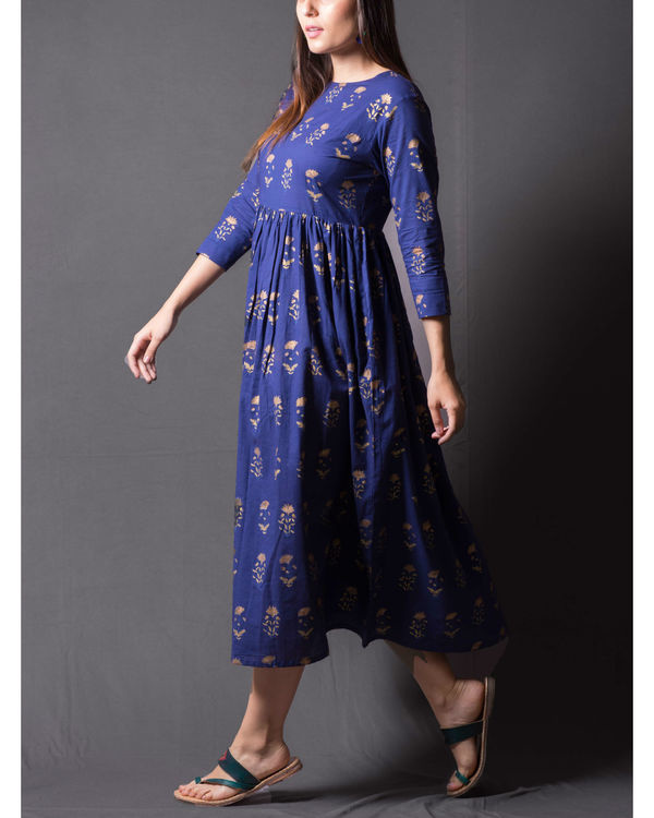 Navy blue daisy block printed dress 2
