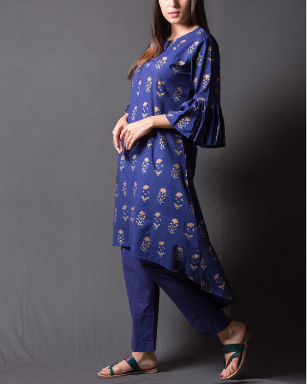 Navy blue block printed asymmetrical kurta set 3