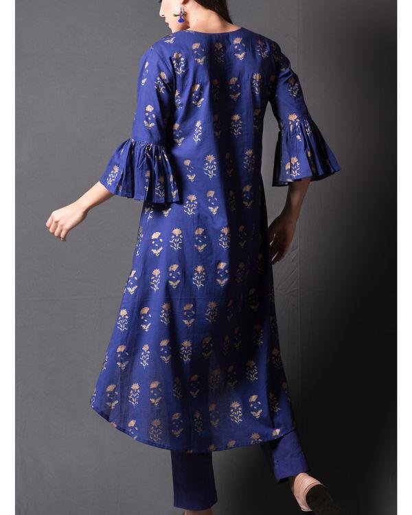 Navy blue block printed asymmetrical kurta set 2