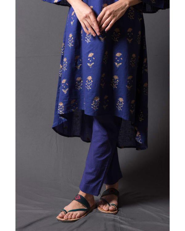 Navy blue block printed asymmetrical kurta set 1