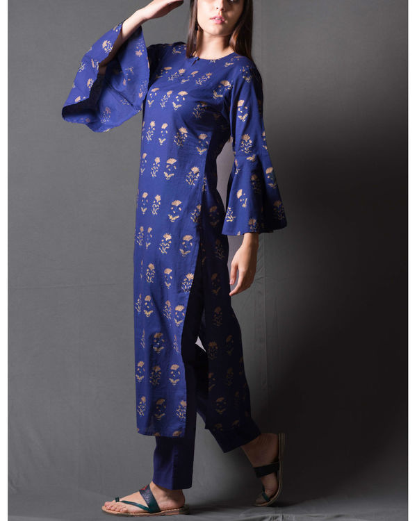 Navy blue block printed kurta set 2