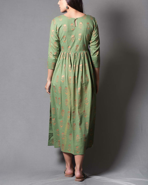 Green daisy block printed dress 1