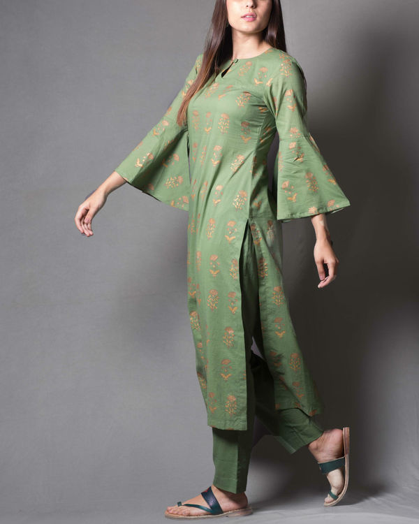 Green block printed kurta set 2