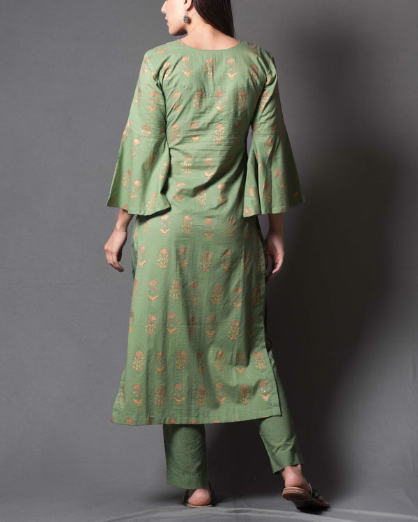 Green block printed kurta set 1