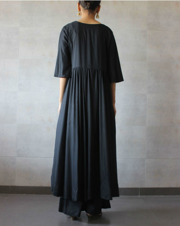 Black pleated kurta palazzo set 2