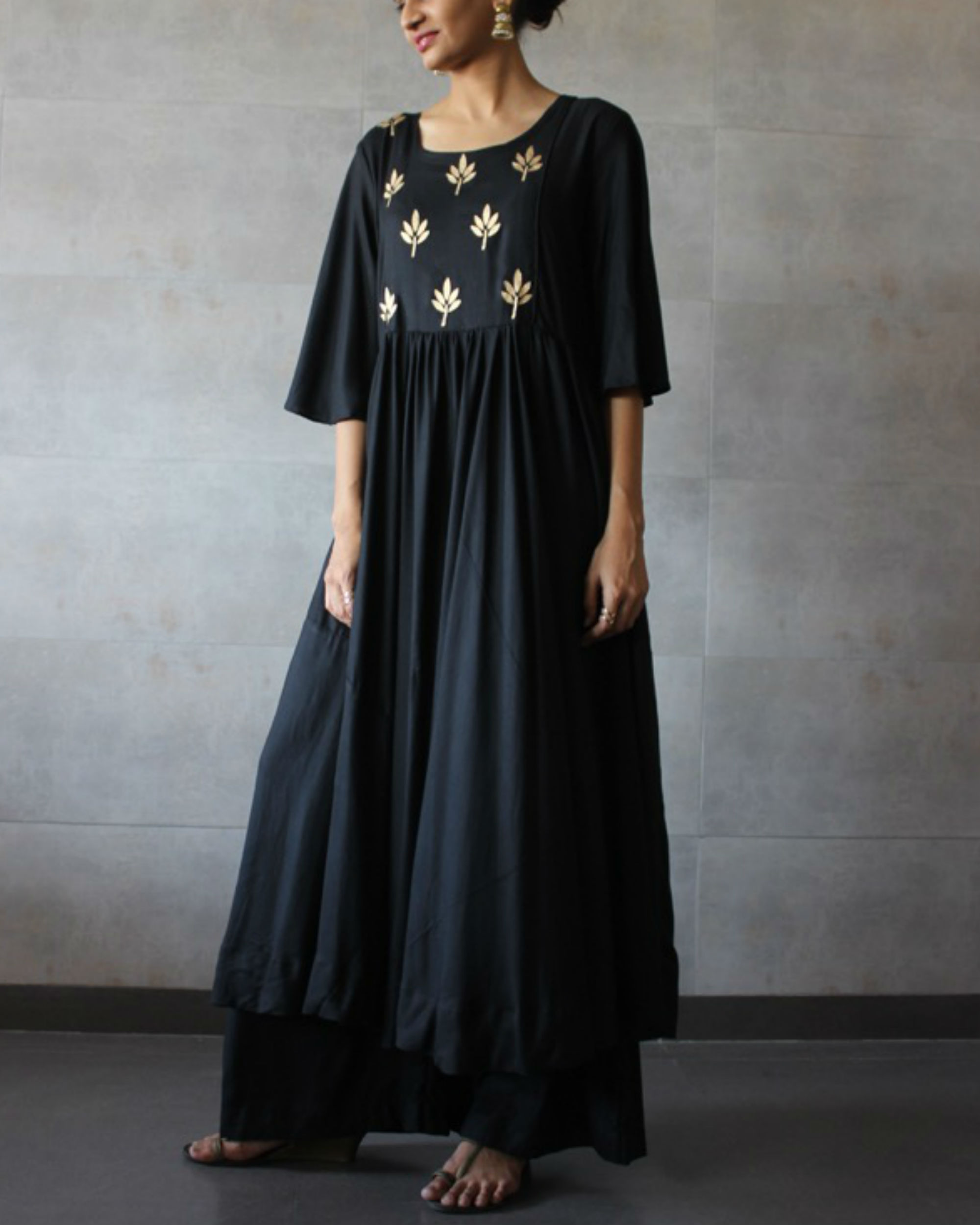 Ihram Kids For Sale Dubai: Black Pleated Kurta Palazzo Set By The Label Studio