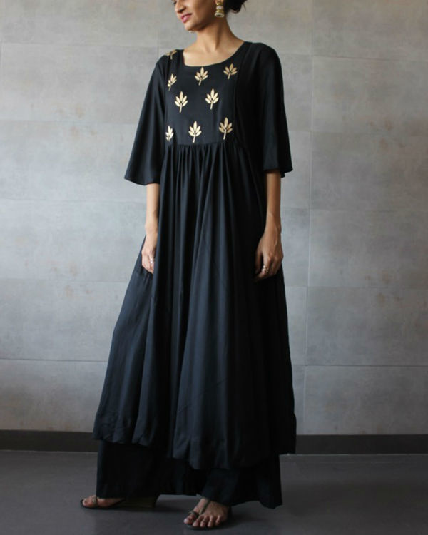 Black pleated kurta palazzo set 1
