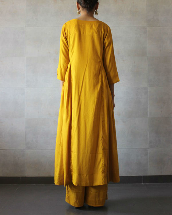Mustard side pleated kurta palazzo set 2