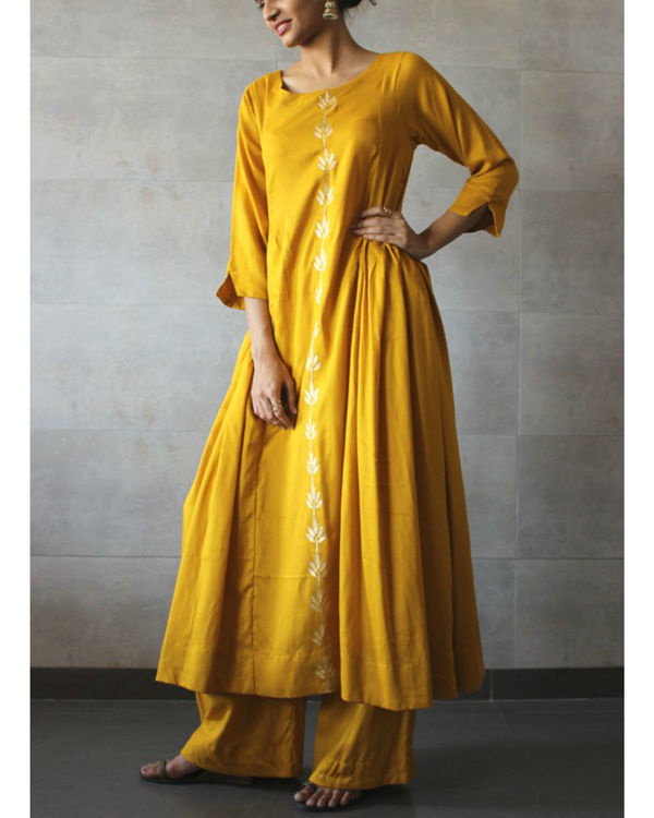 Mustard side pleated kurta palazzo set 1