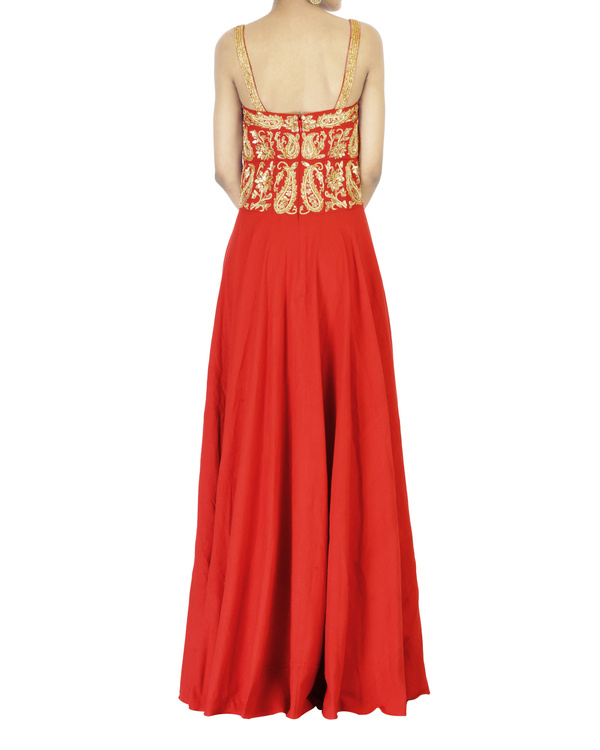 Red embroidered corset maxi dress 1