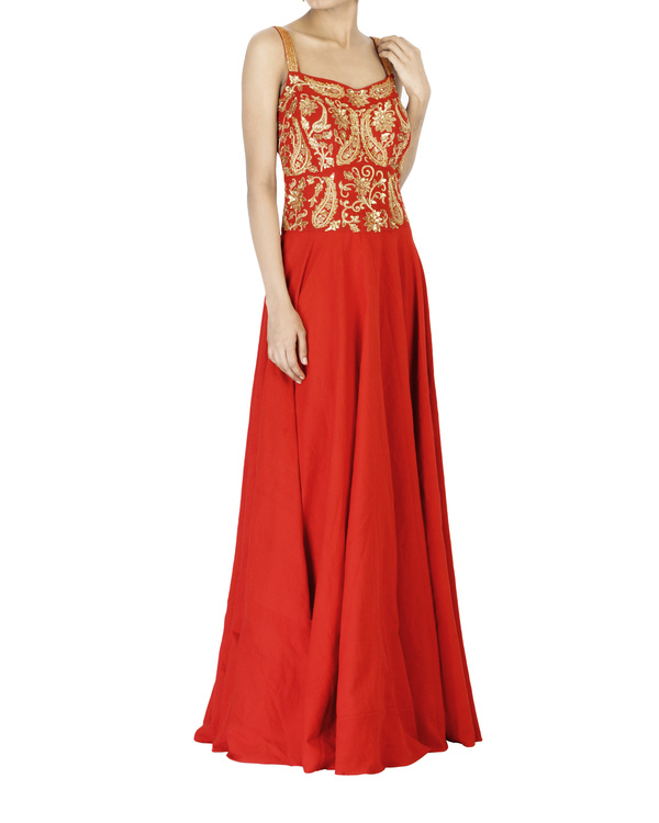 Red embroidered corset maxi dress 2