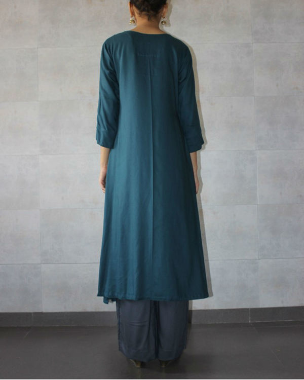 Teal straight kurta and charcoal palazzo set 2