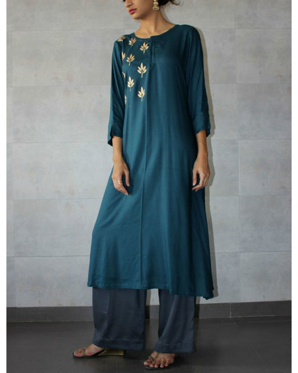 Teal straight kurta and charcoal palazzo set 1