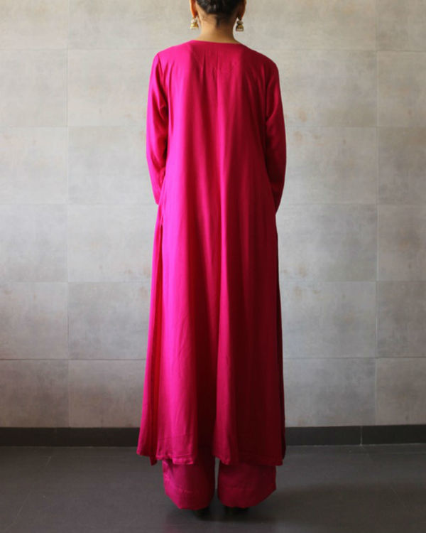 Hot pink straight kurta palazzo set 2