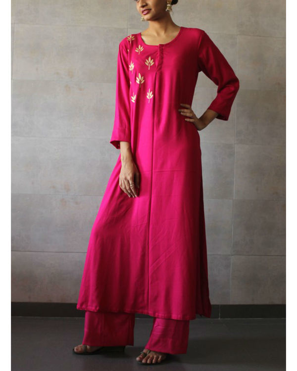 Hot pink straight kurta palazzo set 1